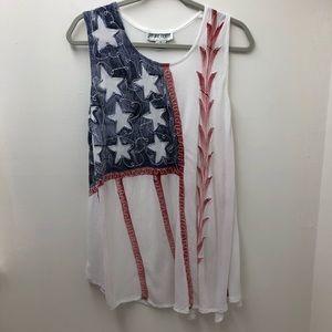 Jessica Taylor Star Floral Print Tunic Tank Top 1X